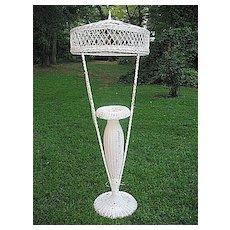 Rare Wicker Floor Lamp with  Fern Vase Circa 1920's