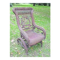 Rare Natural Antique Victorian Wicker Platform Rocking Chair Rocker Circa 1890's