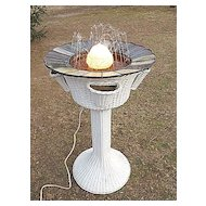 Rare   Vintage Wicker Lighted Fountain with 4 Woven Fern Pockets  Heywood Brothers & Wakefield Company Circa 1920's