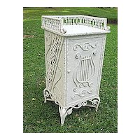 Rare Ornate Victorian Antique Wicker Sheet Music Stand Heywood Brothers and Wakefield Company Circa 1890's