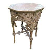 Fancy Antique Victorian Wicker Tabouret Table Circa 1890's