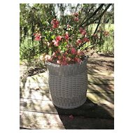 Vintage Wicker Basket with Weave Patterns and Wood Bottom Circa 1920's