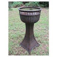 Vintage Natural Wicker Pedestal Fernery