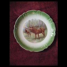 Antique Porcelain  Transferware Elk Game Plate Circa 1900