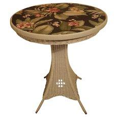 Vintage Round Art Deco Wicker Pedestal Table Circa 1920's