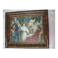 Vintage Jesus in the Temple w/ the Doctors'  Religious Print in Wood and Gesso Frame / Artist: Heinrich Hofmann Circa 1920's