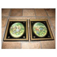 Vintage Pair of Hand Stitched Romantic Pictures with Reverse Painted Glass with Gold Highlights