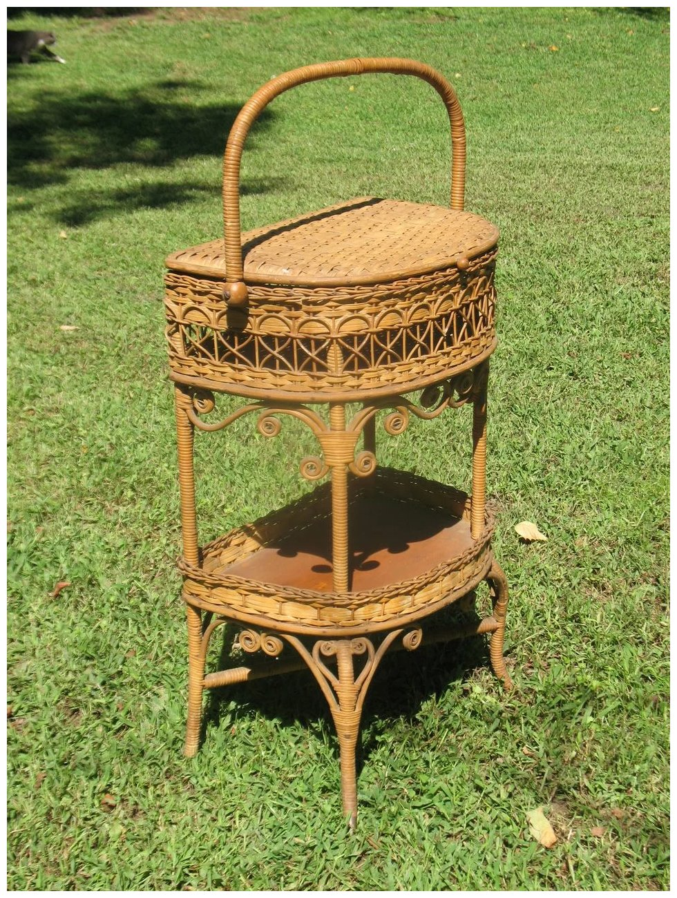 Natural Antique Victorian Wicker Sewing Stand Circa 1890 S