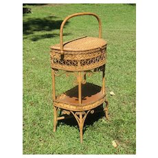 Natural Antique Victorian Wicker Sewing Stand Circa 1890's