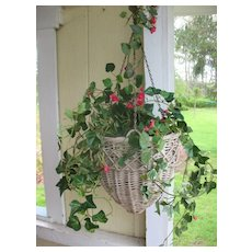 Vintage Wicker Hanging Flower Basket