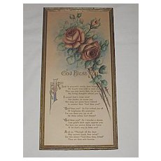 Vintage 'God Bless You' Dear Friend, Tender Blessings for Someone Special, Lg. Floral Motto Prayer  Print w/ Roses