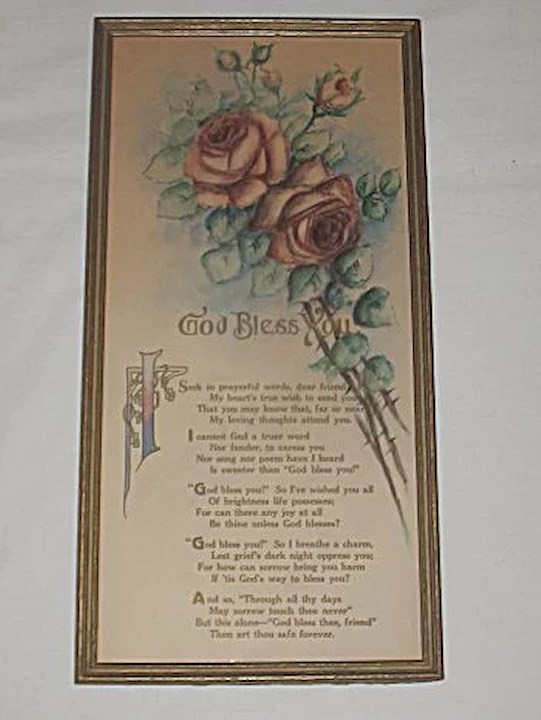 28210c38d0 Vintage 'God Bless You' Dear Friend, Tender Blessings for Someone :  Dovetail Antiques and Collectibles | Ruby Lane