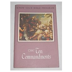 The Ten Commandments' w/ Bible Quotations & Color Illustrations, Vintage Religious Paperback Book & Bible Program c1959