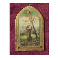 Vintage Wooden Plaque of Saint Anthony and Jesus Circa 1920's