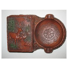 Deer Buck Forest Syroco Box with Lid and Ashtray Masculine