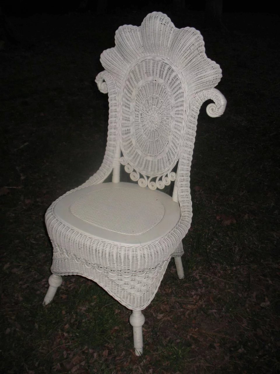 Fancy Antique Victorian Wicker Reception Chair Circa 1890