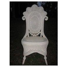Fancy Antique Victorian Wicker Reception Chair Circa 1890's