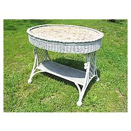 Antique Oval Wicker Bar Harbor Table Circa 1910