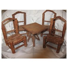 Antique Adirondack Miniature Twig Set Circa 1910 4 Chairs Table