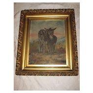 Antique Oil Painting Burros Donkeys SouthWest Landscape Desert Circa Late 1800's