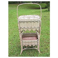 Rare & Ornate Early Victorian Antique Stick Wicker Sewing Stand