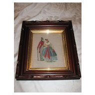Antique  Victorian Deep Walnut Frame with Needlepoint Lady and Gentleman Circa 1890's