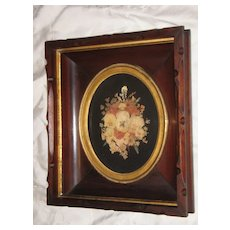 Antique Decorative Deep Walnut Victorian Picture Frame With Beautiful Flower Arrangement Circa 1880's