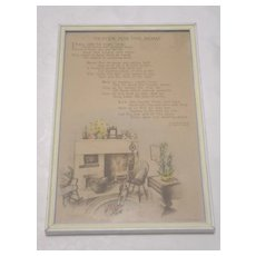 Vintage Buzza Prayer For The Home By Edgar A Guest Circa 1940