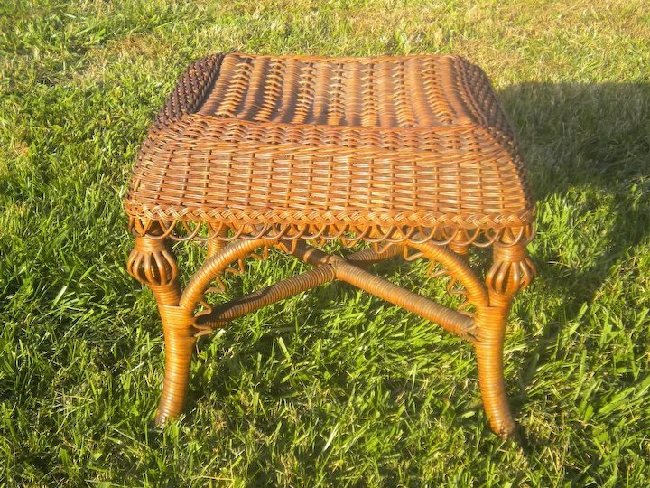 very rare antique natural wicker footstool circa 1880 s heywood