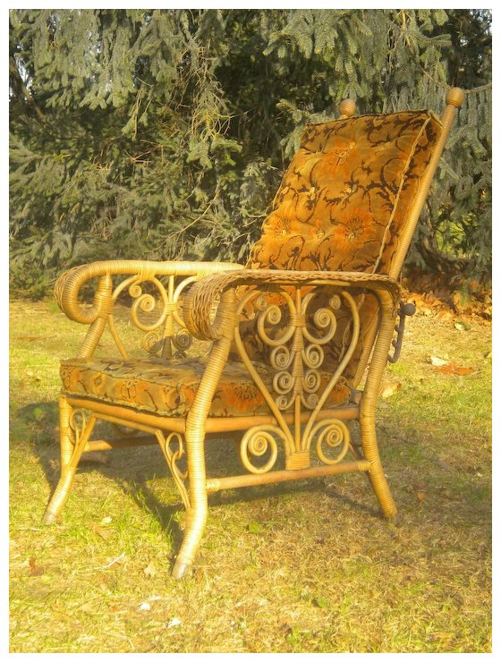 Very Rare Antique Natural Youth Size Victorian Wicker Morris Chair Circa  1890's - Very Rare Antique Natural Youth Size Victorian Wicker Morris Chair