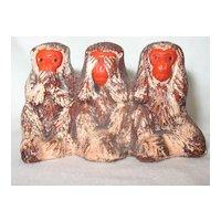 Vintage Japanese Bankoware Three Monkeys Speak Hear See No Evil  Occupied Japan
