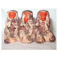 Vintage Japanese Bankoware Three Monkeys Speak Hear See No Evil  Occupied Japan