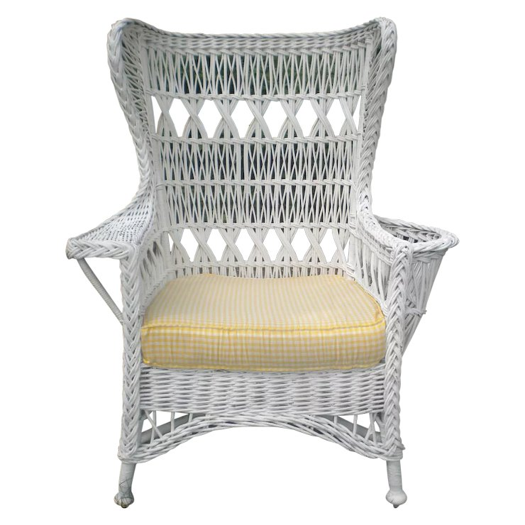 Large Bar Harbor Wicker Wing Chair With Magazine Pocket Circa 1920u0027s