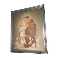 Vintage Saint Anthony of Padua with Baby Jesus Print Circa 1920's