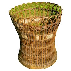Shapely Natural Antique Wicker Basket Circa 1900