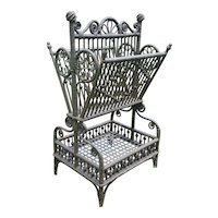 Ornate Antique  Victorian Wicker Sheet Music Stand Table Circa 1890's