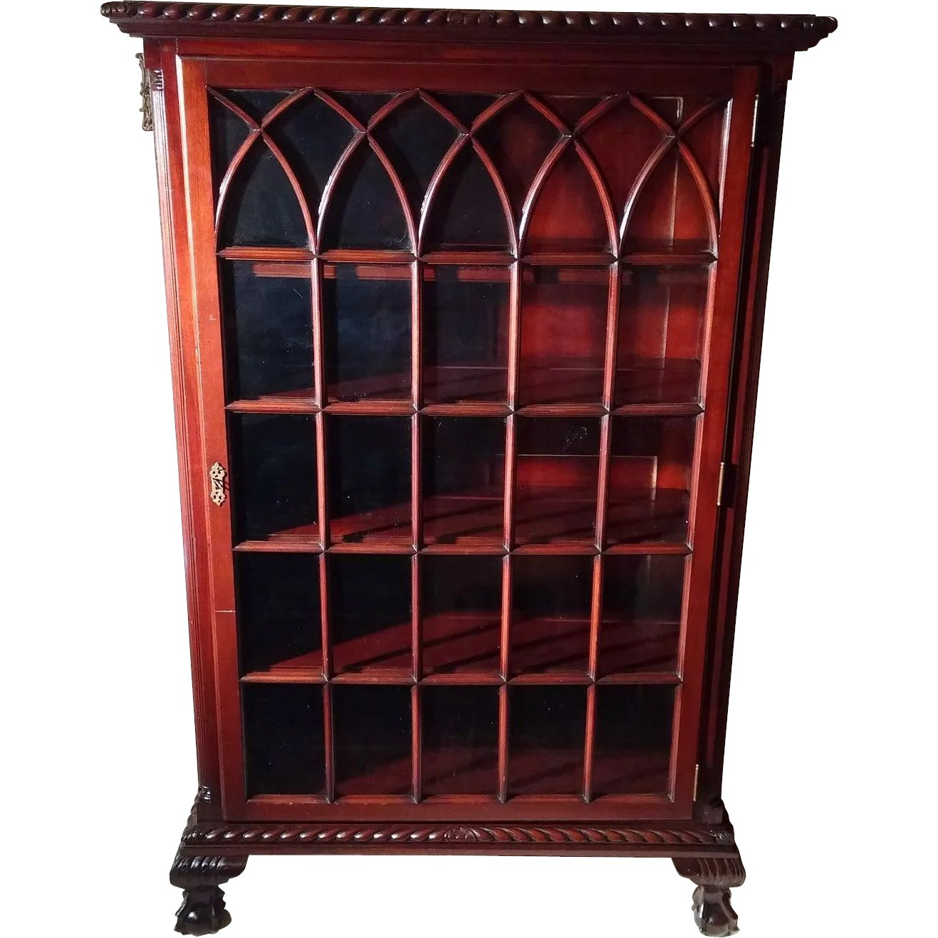 Rare Antique Chippendale Ball Claw Foot Mahogany China Cabinet Circa Dovetail Antiques And Collectibles Ruby Lane