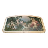 Religious Art Large Print Mary and Jesus Captivating Scene with Angels Circa 1920's