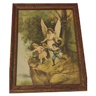 Vintage Guardian Angel Print Circa 1920's