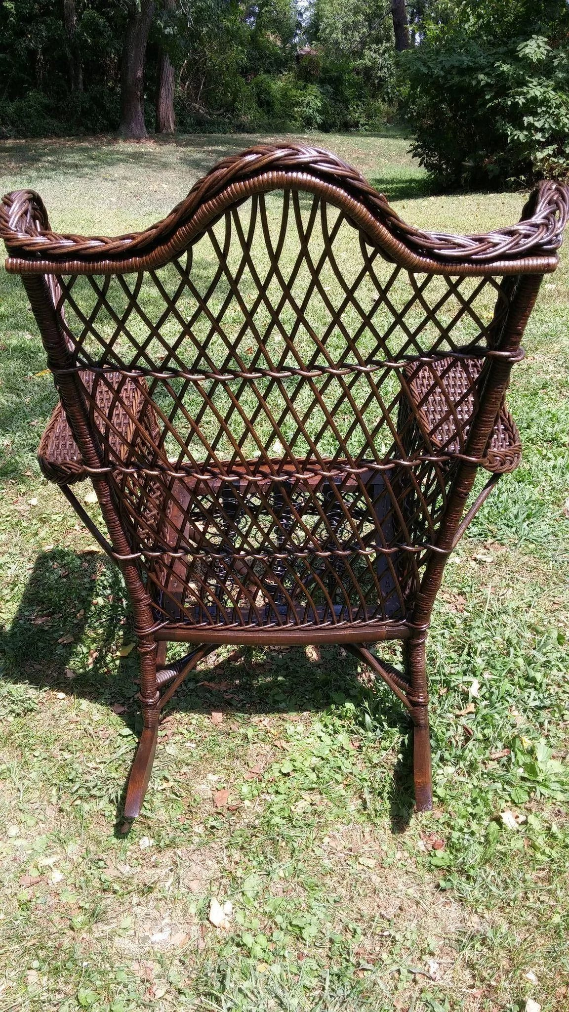 Vintage Natural Bar Harbor Wicker Wing Rocker Circa 1920 S