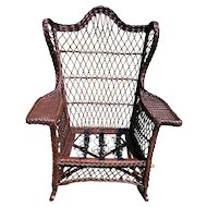 Vintage Natural Bar Harbor Wicker Wing Rocker Circa 1920's