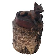 Rare Antique Rustic Wood Carved Fox Humidor Dated 1901