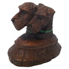 Vintage Syroco Wood Pen Holder Terrier  Dogs Circa 1920's