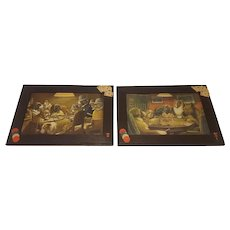 Pair of  Antique Prints Dogs Playing Poker by CM Coolidge