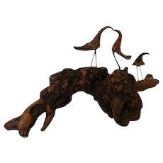 Rare Antique Rustic Natural Wood Folk Art Bird Sculpture Circa Early 1900's