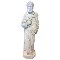 Vintage Garden Statue of Saint Francis of Assisi Circa 1920's