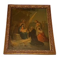 Large Antique Lithograph The Nativity Scene Circa 1900
