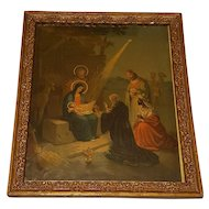 Large Antique Lithograph The Nativity Scene Circa 1900