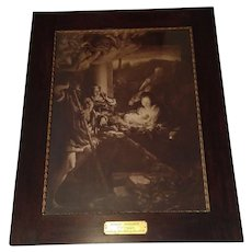 Extra Large Antique Lithograph titled Holy Night by Antonio da Correggio Circa 1890's