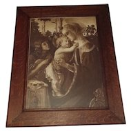 Extra Large Antique Lithograph Virgin and Child with Young John the Baptist by Sandro Botticelli Circa 1900